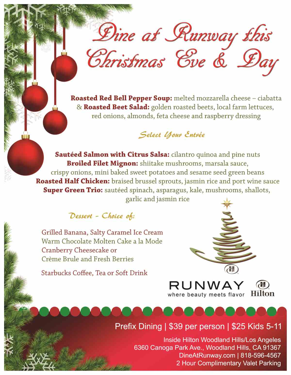 Christmas & Christmas Eve Dinner - The Runway Restaurant and Bar